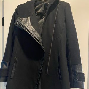 Black Peacoat with leather embroidered